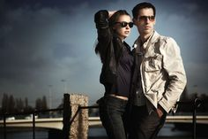 Fashion couple - attractive, couple, elegance, fashion, female model, male model, photoshoot, portrait, pose, relationship, sunglasses, young