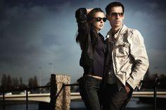 Fashion couple - attractive, couple, elegance, fashion, female model, male model, photoshoot, portrait, pose, relationship, sunglasses, young