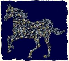 mosaic tile pattern horse | mosaic horse this large horse design is made up from an earth tone ...