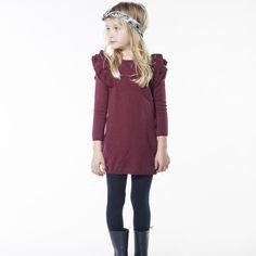 CARREMENT BEAU Robe tricot volanté fille rouge - Kids around