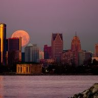 Moon setting over Detroit, Michigan