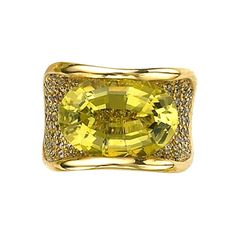 Sorab & Roshi Lemon Citrine Vogue Ring | From a unique collection of vintage cocktail rings at http://www.1stdibs.com/jewelry/rings/cocktail-rings/