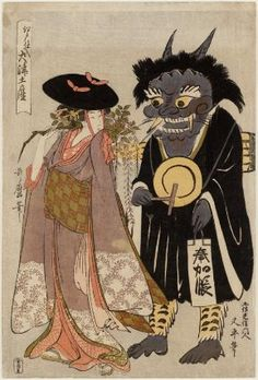 Wisteria Maiden (Fuji musume) and Demon Chanting the Name of the Buddha (Oni no nenbutsu), from the series Souvenir Paintings from Ôtsu, Stocked in Edo (Edo shiire Ôtsu miyage)  「江戸仕入大津土産」 藤娘 鬼念仏  Japanese, Edo period, about 1802–03 (Kyôwa 2–3)  Artist Kitagawa Utamaro I, Japanese, (?)–1806  Publisher Ômiya Gonkurô, Japanese, Woodblock print (nishiki-e); ink and color on paper, MFA