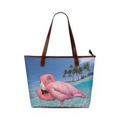 Flamingo and Palms Shoulder Tote Bag. FREE Shipping. #artsadd #bags #flamingos