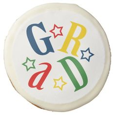 Colorful GRAD Star Graduate Skewed Letters Sugar Cookie #graduation #classof2014 #classof2015 #grads #partyfavors #gifts #shopping
