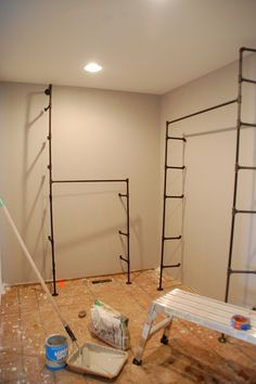When Your Closet Is Nicer Than Your Living Space – DIYdiva DIY pipe closet - Signatures. Pipe Closet, Boys Closet, Front Closet, Diy Pipe, Master Bedroom Closet, Master Bedrooms, Closet Remodel, Pipe Shelves, Closet System