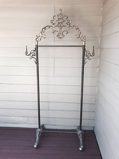 RARE antique store display clothing rolling costume rack 1930 french ornate brass metal shabby nordic chic