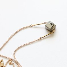 pyrite cube necklace