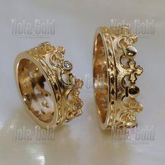 Парные обручальные кольца корона с бриллиантами в женском кольце на заказ (Вес пары: 15 гр.)