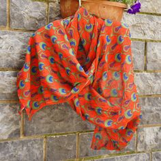 Red long Scarf with Ottoman/ Anatolian floral motifs. Lovely gift for mothers day. It is light weight cotton. Hyacinth motifs were the most popular