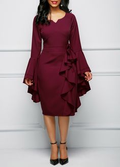 Bowknot Embellished Flare Sleeve Flouncing Dress | Rosewe.com - USD $34.60