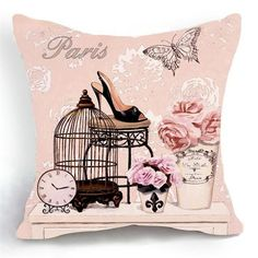 Ojia Retro Vintage Pink Bird Cage Flower Home 18 X 18 Inch Cotton Linen Decorative Throw Cushion Cover/Pillow Sham Vintage Paris, Retro Vintage, Vintage Modern, Images Vintage, Vintage Pictures, Collages D'images, Sofas Vintage, Luxury Flowers, Pink Bird
