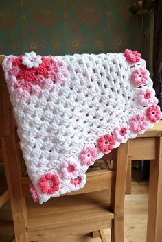SO BEAUTIFUL! - pattern available in a back issue of crochet today! Version of orchid and lilac blankie set