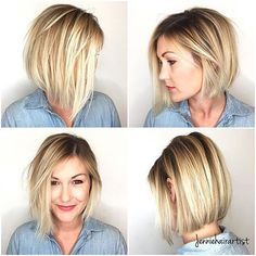 Short Blonde Angled Bob Hair