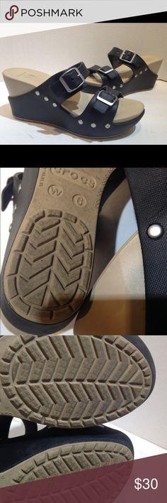 crocs black wedges  size 6 crocs black wedges  size 6 W  Heel is 3 inches tall CROCS Shoes Heels