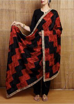 Black and Red Bagh Phulkari Embroidered Chiffon Dupatta