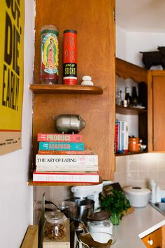 small kitchen - corner shelves
