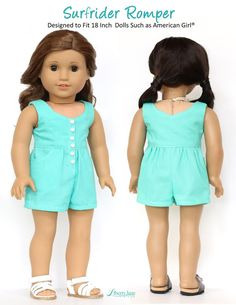 "Liberty Jane Surfrider Sundress and Romper 18"" Doll Clothes Pattern designed to fit American Girl Doll 