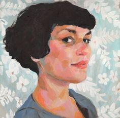Jenny  - original portrait  painting -acrylic painting - woman illustration painting - face lady painting - people paintings-/ ART PORTRAIT