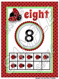Adorable Lovely Ladybug themed 10 ten frames/posters.  2 sets - different fonts, plus mini frames to use for centers, games, flash cards or to put on O-rings so the students can have their very own copy!