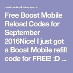 Free boost mobile reload codes free boost mobile reload card codes free boost mobile reload codes for september 2016nice i just got a boost mobile refill fandeluxe Image collections
