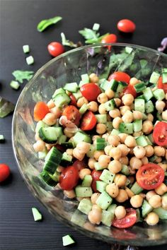 This easy chickpea garlic vinaigrette salad is vegan, gluten free, dairy free, and bursting with flavor. It is fresh and crisp yet satisfying protein packed meal. thehiddenveggies.com
