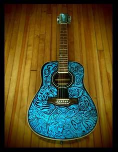 haida12STRUM - hand painted, playable 12 string acoustic guitar