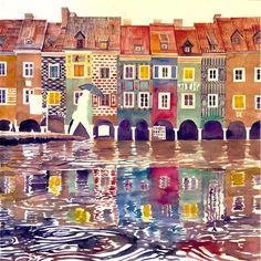 El artista Polaco en acuarelas Maja Wronska sigue pintando representaciones explosiva de colores dentro de la arquitectura europea