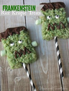 Gonna do these for kids halloween party Frankenstein Halloween Rice Krispie Treats. Gonna do these for kids halloween party Halloween Desserts, Diy Halloween Treats, Spooky Treats, Halloween Goodies, Holiday Treats, Halloween Kids, Halloween Party, Holiday Fun, Fall Treats