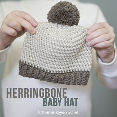 Herringbone Baby Hat Crochet Pattern, Sizes Newborn - 12 months Free baby hat crochet pattern with ribbed brim and pom pom by Little Monkeys Crochet Crochet Crafts, Easy Crochet, Crochet Projects, Free Crochet, Crochet Ideas, Diy Crafts, Crochet Baby Hat Patterns, Crochet Stitches, Little Hats Big Hearts