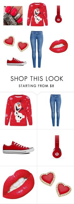 """"""" red Olaf"""" by fatalbertsquad ❤ liked on Polyvore featuring Disney, H&M, Converse, Thalia Sodi, women's clothing, women, female, woman, misses and juniors"""