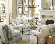 Blue and White living room with François & Co mantel. Omgosh! My perfect living space, a little coastal w country French