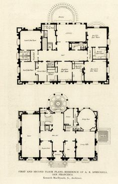 archimaps: Floor plans of the Spreckels Mansion, San Francisco Sims House Plans, House Floor Plans, The Plan, How To Plan, Castle Floor Plan, Mansion Plans, Architecture Mapping, Architectural Floor Plans, Vintage House Plans