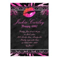 311 Lace Diamonds Birthday Party Zebra Pink Lips Card