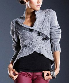 Cadet Gray Cable-Knit Wool-Blend Cardigan by Dolce Cabo