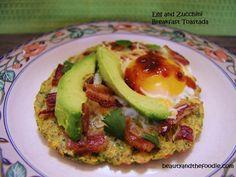 Egg and Zucchini Breakfast Toastada is a grain free, paleo zucchini toastada with egg, bacon, avocado, and salsa.