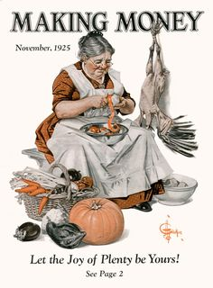 Some things never change, like turkey day preparations - magazine cover Making Money 1925-11
