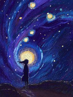 coil healing looking at the stars girl coil illustration hand painted Art And Illustration, Illustrations, Arte Inspo, Arte Van Gogh, Art Anime, Star Art, Moon Art, Aesthetic Art, Painting Inspiration