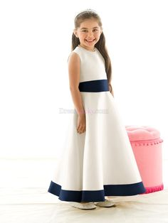 White Jewel Zipper Up Sleeveless Ankle-length Flower Girl Dresses With Sashes/Ribbons FDC39