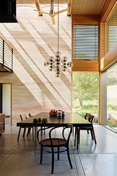 Lavish dining table in sustainable modern Californian retreat by Feldman Architecture