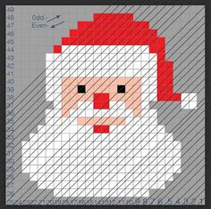 Crochet Santa Pixel Square - Repeat Crafter Me Christmas Crochet Blanket, Crochet Santa, Christmas Crochet Patterns, Holiday Crochet, Blanket Crochet, Crochet Pillow Patterns Free, Repeat Crafter Me, Pixel Crochet, Bobble Stitch