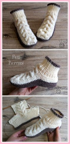 Super Soft Cozy Slippers Free Knitting Pattern - Russian and English - sport wei. Super Soft Cozy Slippers Free Knitting Pattern - Russian and English - sport weight yarn Knit Cable Baby Boot. Knitting Designs, Knitting Patterns Free, Knit Patterns, Free Knitting, Designer Knitting Patterns, Afghan Patterns, Knitting Machine, Vintage Knitting, Knitting Needles