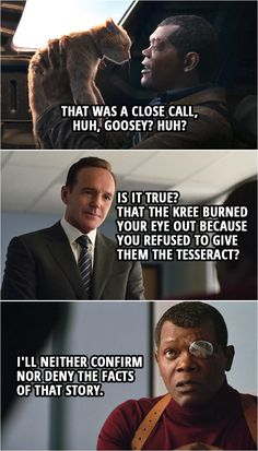 Captain Marvel Quote    Phil Coulson: So, is it true? That the Kree burned your eye out because you refused to give them the Tesseract? Nick Fury: I'll neither confirm nor deny the facts of that story.    Captain Marvel Quotes - Enjoy this funny scene from a Marvel movie. One of the iconic humor scene from the movie. Marvel Quotes, Marvel Memes, Marvel Avengers, Marvel Comics, Loki Quotes, The Mentalist, Sherlock, Captain Marvel Carol Danvers, Marvel Facts