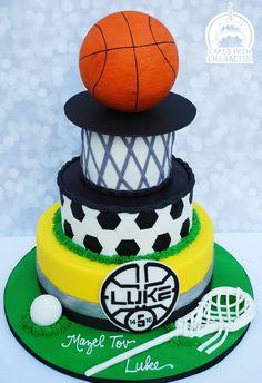 Multi sport (lacrosse, soccer, and basketball) themed Bar Mitzvah cake Lacrosse Cake, Soccer Cake, Diy Christmas Lights, Christmas Diy, Sport Cakes, Ball Decorations, Character Cakes, Cupcake Cakes, Cupcakes