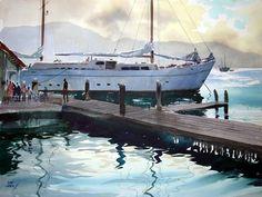 "John Pike watercolor 'Jamaican Ferry' - Full Sheet (22""H x 30""W). John Pike Paintings. Found on ewatercolors.com"