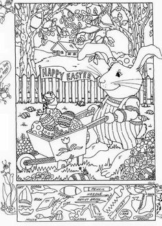 Hidden Pictures Publishing: Easter Hidden Picture Puzzle and Coloring Page Make your world more colorful with free printable coloring pages from italks. Our free coloring pages for adults and kids. Easter Colouring, Colouring Pages, Free Coloring, Adult Coloring, Coloring Books, Easter Activities, Book Activities, Easter Games, Hidden Pictures Printables
