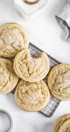 Chewy Sugar Cookies, Chocolate Chip Cookies, Cookies Et Biscuits, Cookies Soft, Chewy Candy, Salted Caramel Cookies, Homemade Sugar Cookies, Cream Cookies, Sugar Cookies Recipe
