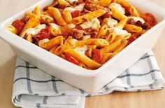 Tomato and bacon pasta bake!