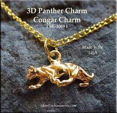 Gold Plated Cougar Charm, Panther Gold Plated Big Cat Charms Overall Size : x x Sold by : Charm Gold Plated N Panther Cat, Usa Gold, Witch Jewelry, Skull Pendant, Gold Plated Necklace, Jewelry Findings, Charms, Plating, Pendants