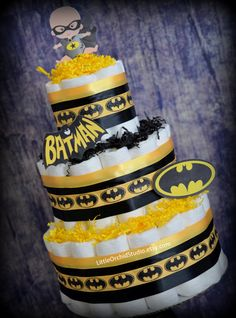 Batman Diaper Cake/ Diaper Cake for Boys/ Superhero baby shower/ Super Hero/ Batman baby shower/ Gifts for baby boy/ Baby boy/ Baby Gifts by LittleOrchidStudio